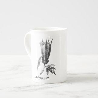 Vintage exotic Xiloxochitl flower etching mug