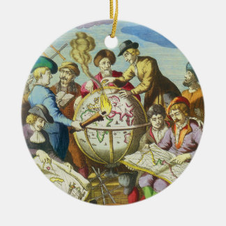 Vintage Explorers with Antique Globe Map, 1542 Double-Sided Ceramic Round Christmas Ornament