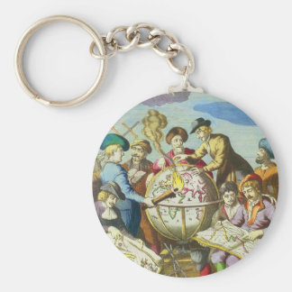 Vintage Explorers with Antique Globe Map, 1542 Key Ring