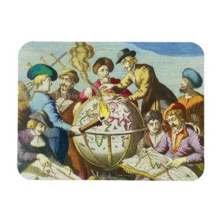 Vintage Explorers with Antique Globe Map, 1542 Rectangular Photo Magnet