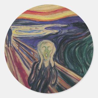 Vintage Expressionism, The Scream by Edvard Munch Round Sticker