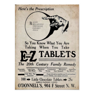 Vintage EZ Tablets 20th Century Family Remedy Poster