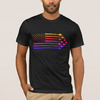 Vintage F-35 Fighter Jet Contrails American Flag T-Shirt