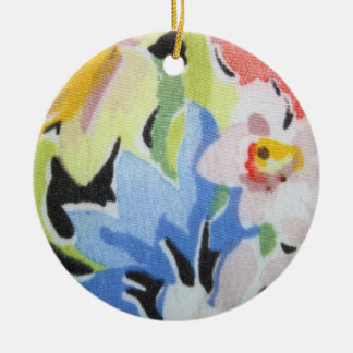 Vintage Fabric in Flower Pattern Ornament
