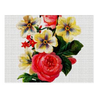 Vintage Fabric Look Roses & Flowers Postcard