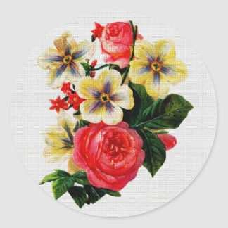 Vintage Fabric Look Roses & Flowers Round Sticker