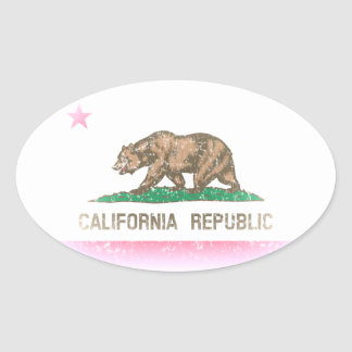 Vintage Fade California Flag Oval Sticker