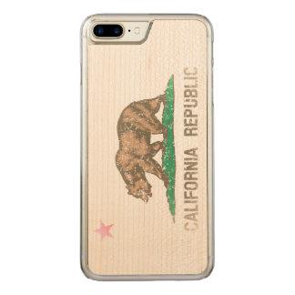 Vintage Fade California Republic Flag Carved iPhone 8 Plus/7 Plus Case