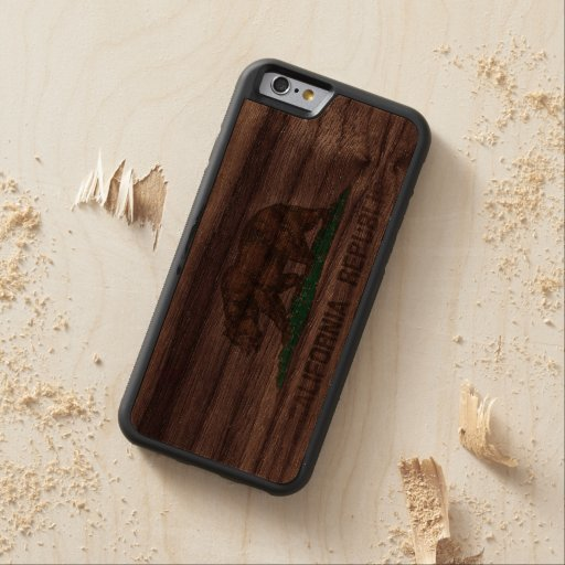 Vintage Fade California Republic Flag Carved® Walnut iPhone 6 Bumper Case