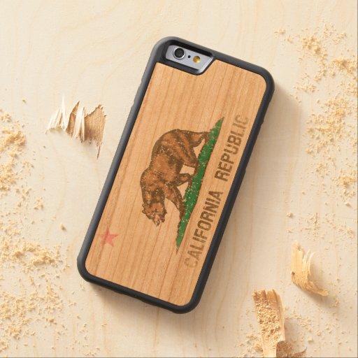 Vintage Fade California Republic Flag Carved® Cherry iPhone 6 Bumper Case