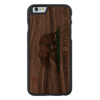 Vintage Fade California Republic Flag Carved® Walnut iPhone 6 Case