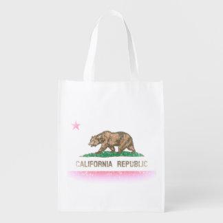 Vintage Fade Flag of California Republic Reusable Grocery Bag