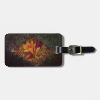 Vintage fade orange and burgundy crocus on grass luggage tag