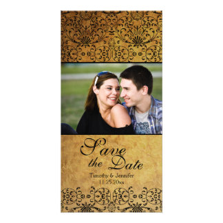 Vintage faded black gold damask save the date photo greeting card