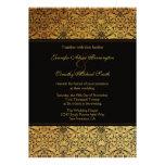 Vintage faded black gold damask wedding invitation