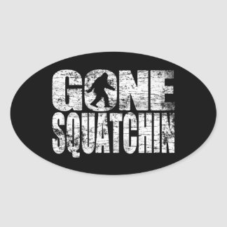 Vintage Faded Gone Squatchin Oval Sticker
