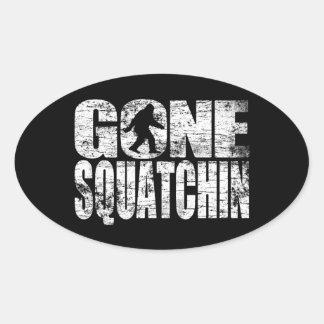 Vintage Faded Gone Squatchin Oval Sticker