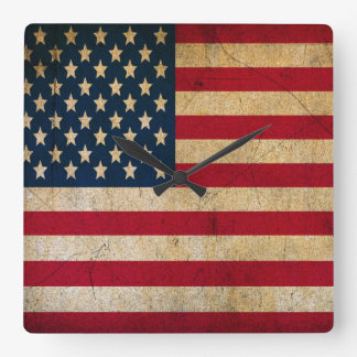 Vintage Faded Old US American Flag Antique Grunge Clock