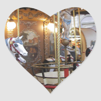 Vintage Fairground Carousel Heart Sticker