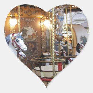 Vintage Fairground Carousel Heart Sticker