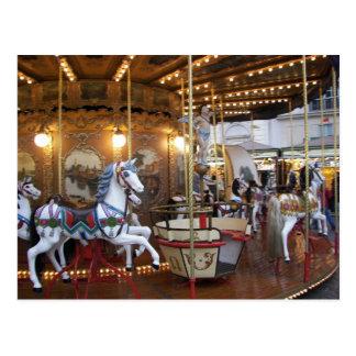 Vintage Fairground Carousel Postcard