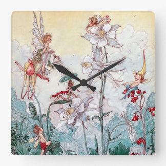 Vintage Fairies at Play Square Wall Clock