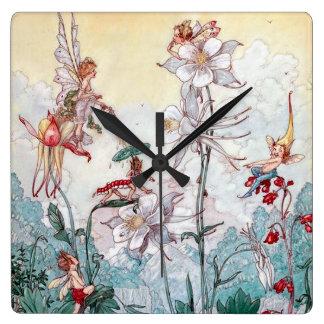 Vintage Fairies at Play Wall Clocks