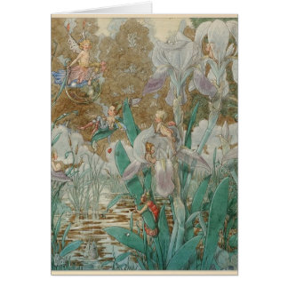 Vintage Fairies & Irises by a Stream, Card