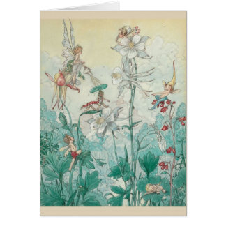 Vintage Fairies Playing in a Garden, Card
