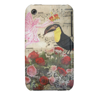 Vintage fairy and bird collage iPhone 3 Case-Mate cases