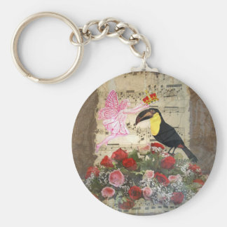 Vintage fairy and bird collage keychains