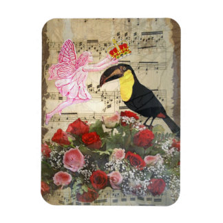 Vintage fairy and bird collage magnet