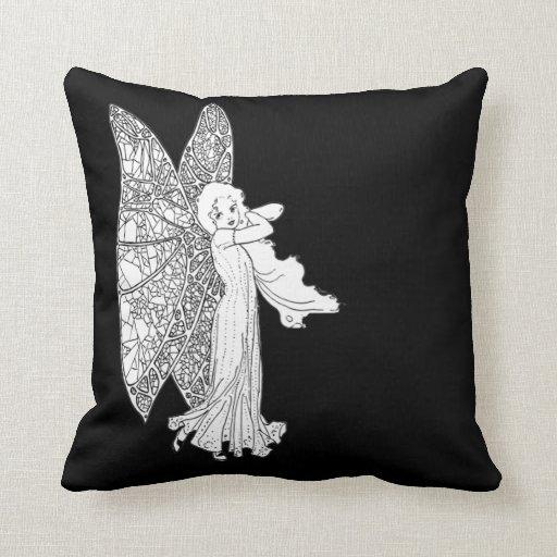 vintage fairy angel cushion pillows black  white