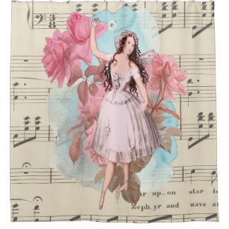 Vintage Fairy Ballerina Dancing Music Shower Curtain
