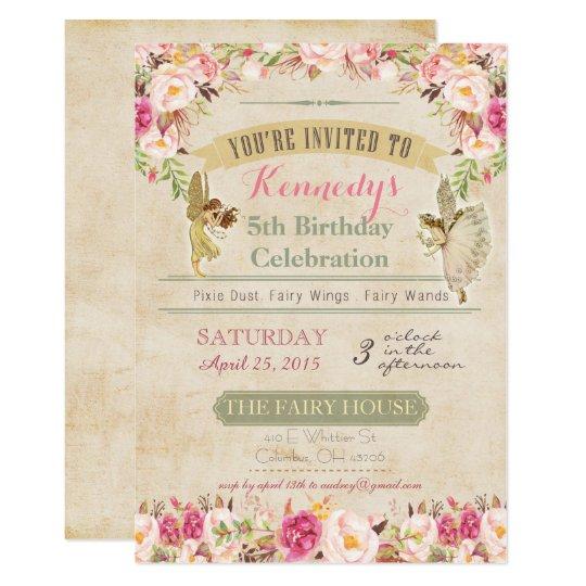 Vintage Fairy Birthday Invitation