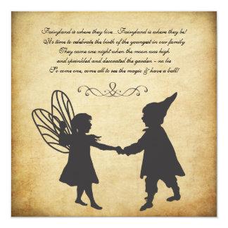 Vintage Fairy & Gnomes Birthday Garden Tea Party 13 Cm X 13 Cm Square Invitation Card
