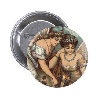 Vintage Fairy Ladies Lighting Cigars 4 Little Men 6 Cm Round Badge