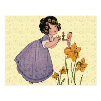Vintage Fairy Sprite and Daffodils Postcard