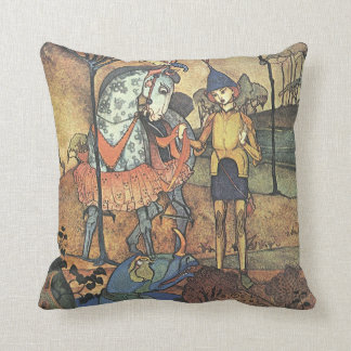Vintage Fairy Tale, A Brave Knight and Dragon Cushion