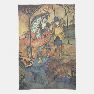 Vintage Fairy Tale, A Brave Knight and Dragon Tea Towel