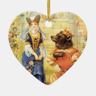 Vintage Fairy Tale, Beauty and the Beast Ceramic Heart Decoration