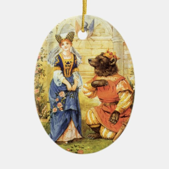 Vintage Fairy Tale, Beauty and the Beast Christmas Ornament