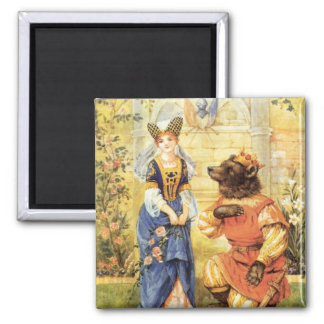 Vintage Fairy Tale, Beauty and the Beast Square Magnet
