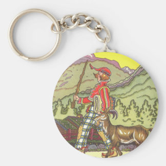 Vintage Fairy Tale, Boy and the North Wind, Hauman Basic Round Button Key Ring