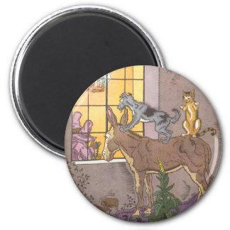 Vintage Fairy Tale, Bremen Town Musicians, Hauman 6 Cm Round Magnet