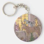 Vintage Fairy Tale, Bremen Town Musicians, Hauman Basic Round Button Key Ring