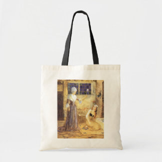Vintage Fairy Tale, Cinderella and Fairy Godmother Budget Tote Bag