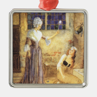 Vintage Fairy Tale, Cinderella and Fairy Godmother Christmas Ornament