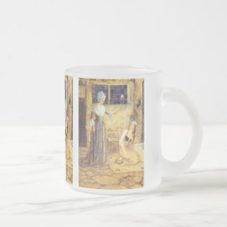 Vintage Fairy Tale, Cinderella and Fairy Godmother Frosted Glass Coffee Mug