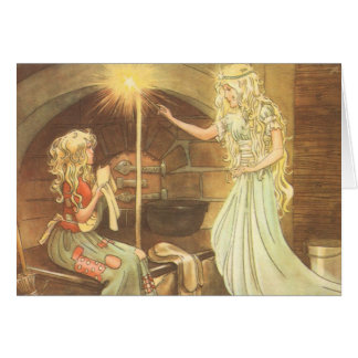 Vintage Fairy Tale, Cinderella and Fairy Godmother Greeting Card